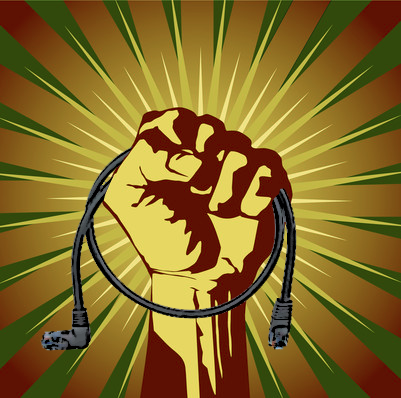power ethernet cord fist red green freedom