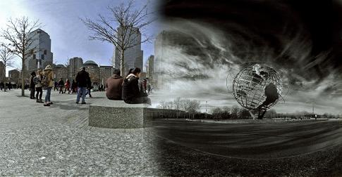 city globe sky clouds panorama