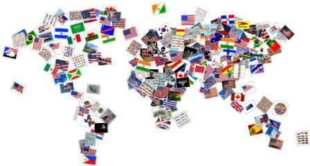continents flag collage map