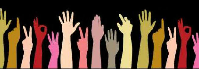 hand signals illustration multi-color community